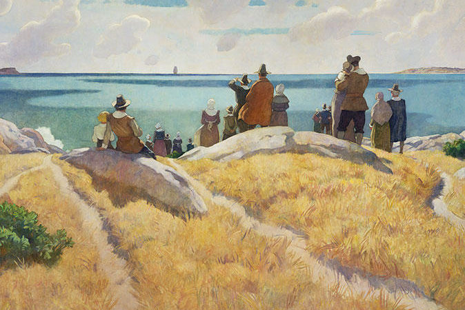 The Departure of the Mayflower from England in 1621 by N.C. Wyeth.